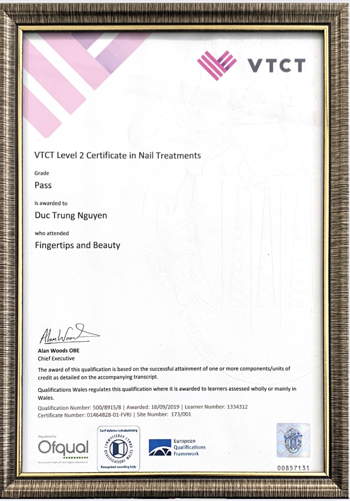 VTCT Level 2 Certificate In Nail Treatments Fingertips And Beauty