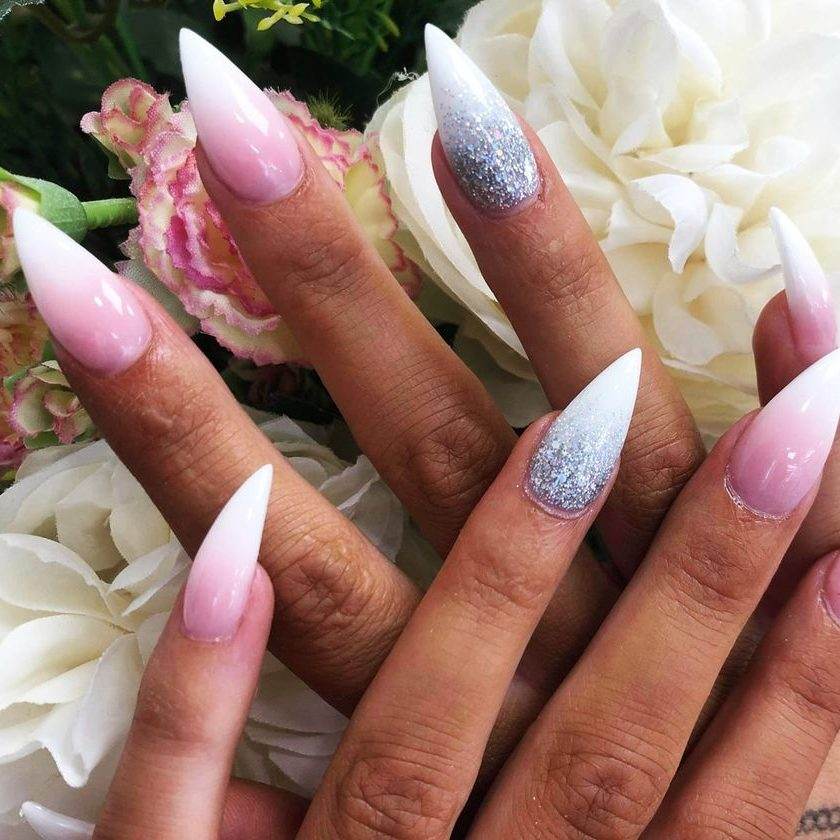 Ombré nails with pointed shape